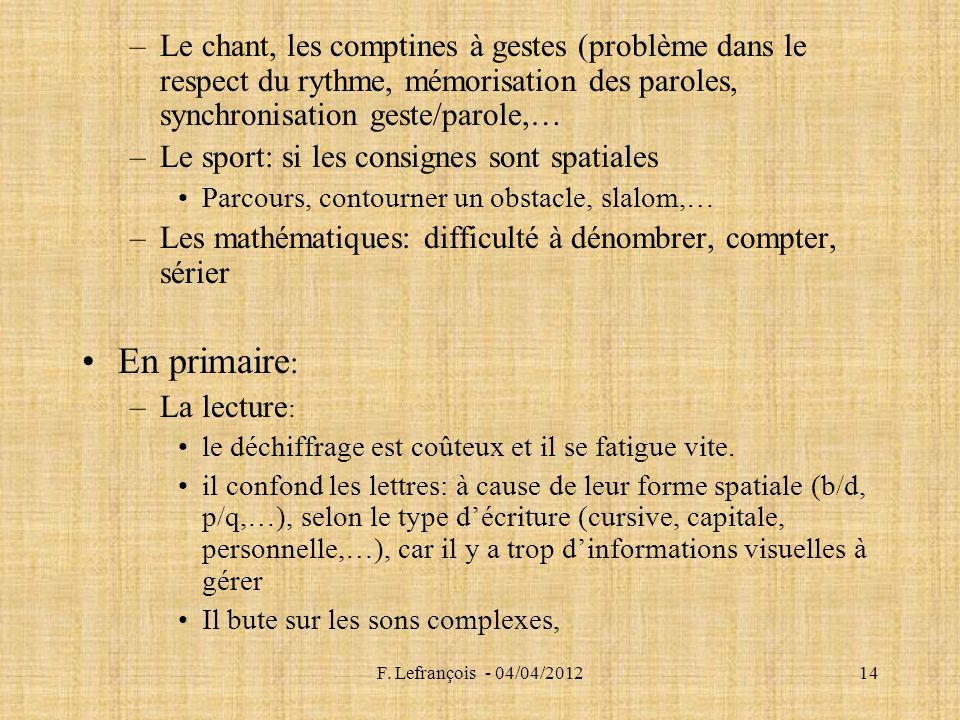F. Lefrançois - 04/04/201214 –Le chant, les comptines à gestes (problème dans le respect du rythme, mémorisation des paroles, synchronisation geste/pa