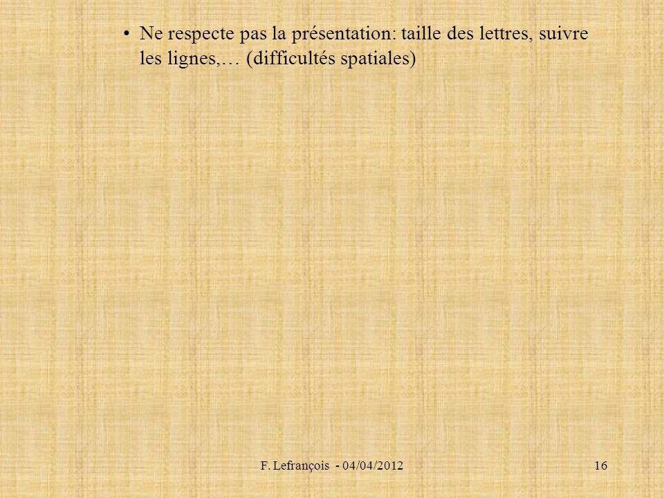 F. Lefrançois - 04/04/201216 Ne respecte pas la présentation: taille des lettres, suivre les lignes,… (difficultés spatiales)