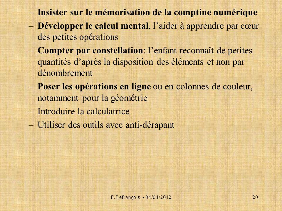 F. Lefrançois - 04/04/201220 –Insister sur le mémorisation de la comptine numérique –Développer le calcul mental, laider à apprendre par cœur des peti