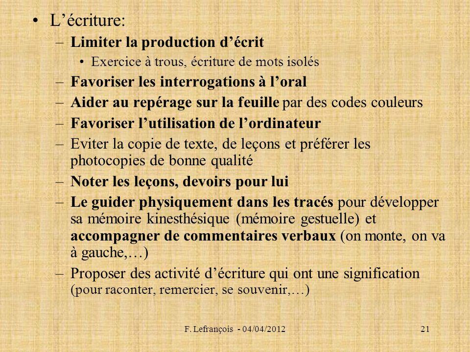F. Lefrançois - 04/04/201221 Lécriture: –Limiter la production décrit Exercice à trous, écriture de mots isolés –Favoriser les interrogations à loral