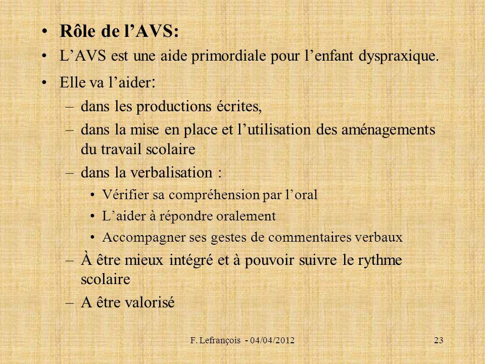 F.Lefrançois - 04/04/201223 Rôle de lAVS: LAVS est une aide primordiale pour lenfant dyspraxique.