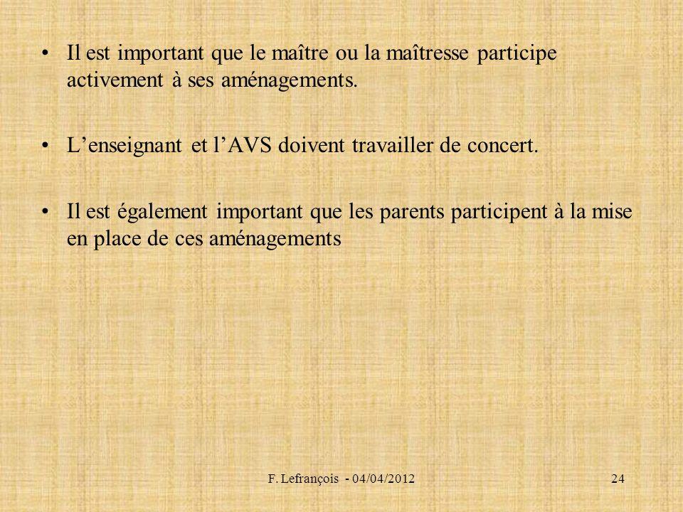 F. Lefrançois - 04/04/201224 Il est important que le maître ou la maîtresse participe activement à ses aménagements. Lenseignant et lAVS doivent trava