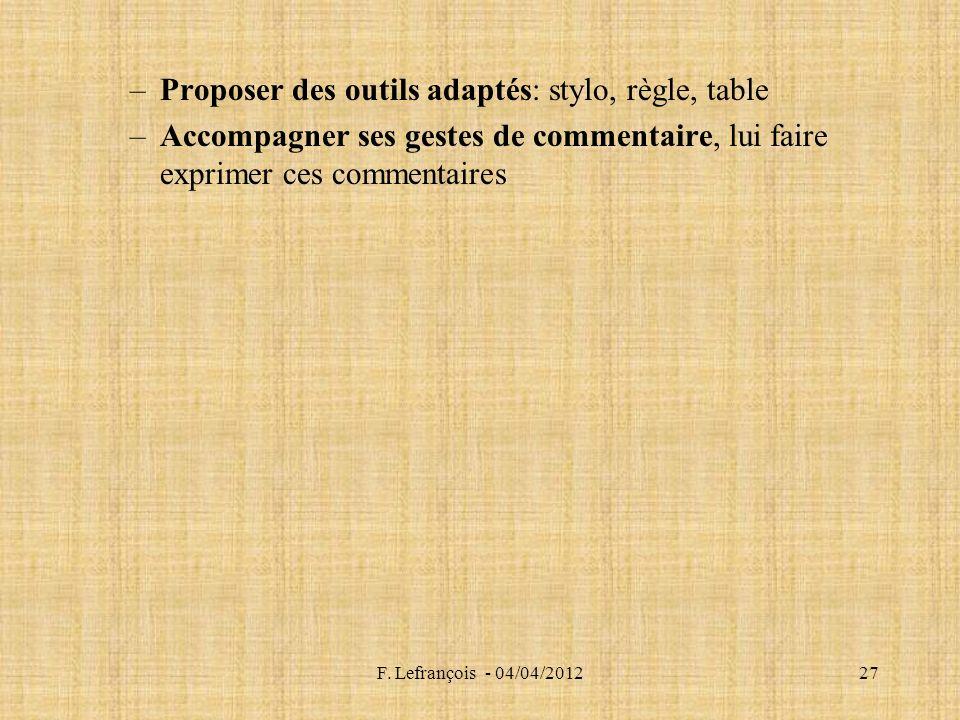 F. Lefrançois - 04/04/201227 –Proposer des outils adaptés: stylo, règle, table –Accompagner ses gestes de commentaire, lui faire exprimer ces commenta