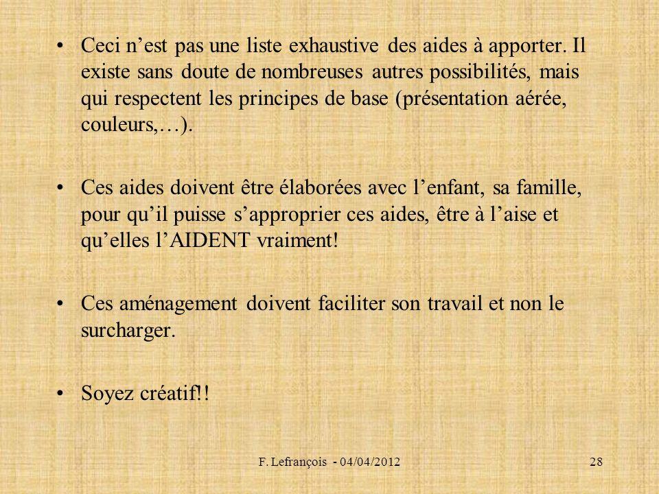 F.Lefrançois - 04/04/201228 Ceci nest pas une liste exhaustive des aides à apporter.