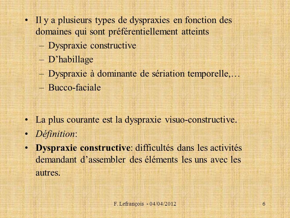 F. Lefrançois - 04/04/20126 Il y a plusieurs types de dyspraxies en fonction des domaines qui sont préférentiellement atteints –Dyspraxie constructive