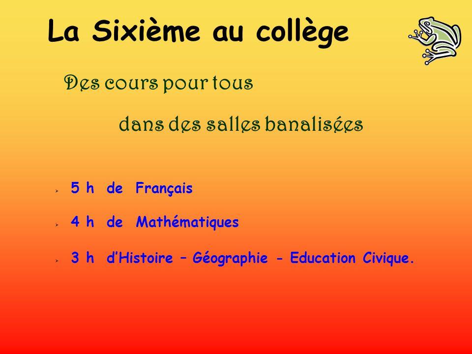 5 h de Français 4 h de Mathématiques 3 h dHistoire – Géographie - Education Civique. Des cours pour tous dans des salles banalisées La Sixième au coll
