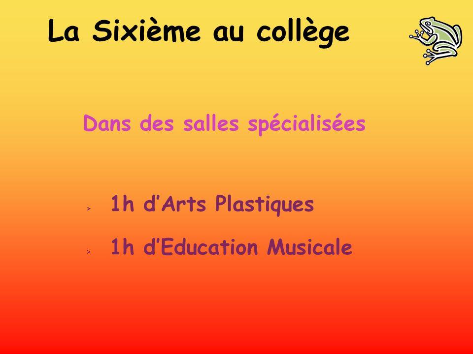 Dans des salles spécialisées 1h dArts Plastiques 1h dEducation Musicale La Sixième au collège