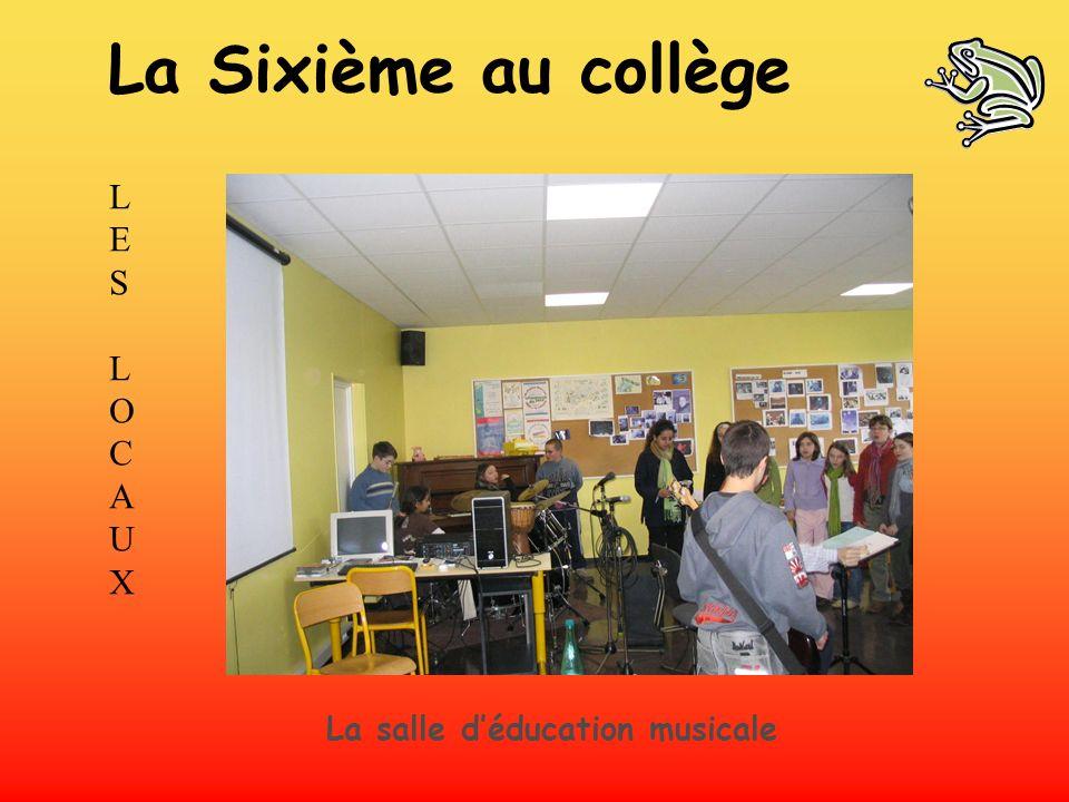 LES LOCAUXLES LOCAUX La salle déducation musicale La Sixième au collège