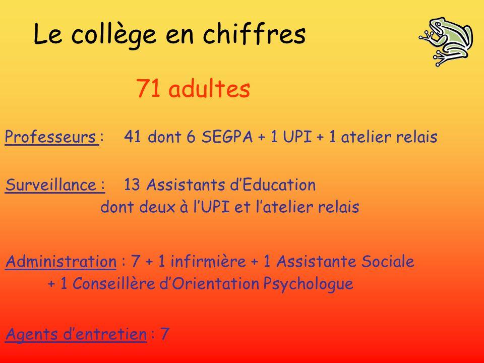 Le collège en chiffres 71 adultes Professeurs : 41dont 6 SEGPA + 1 UPI + 1 atelier relais Surveillance : 13 Assistants dEducation dont deux à lUPI et