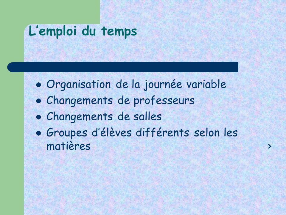 Lemploi du temps Organisation de la journée variable Changements de professeurs Changements de salles Groupes délèves différents selon les matières