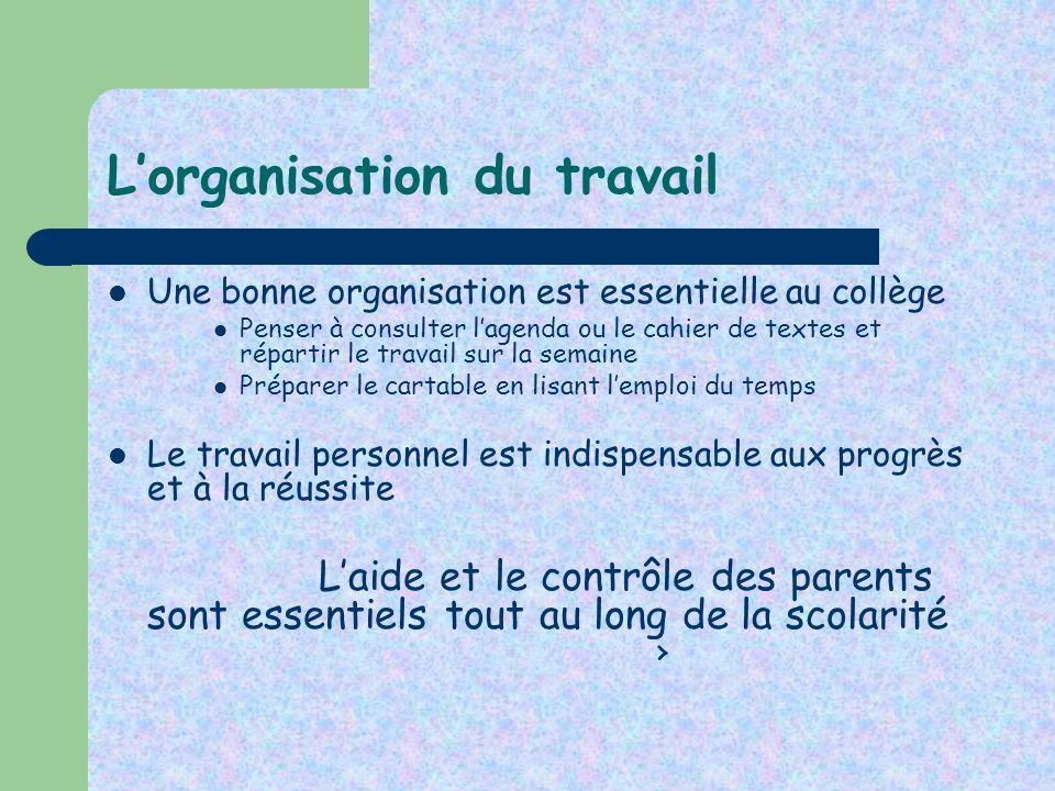 Lorganisation du travail Une bonne organisation est essentielle au collège Penser à consulter lagenda ou le cahier de textes et répartir le travail su