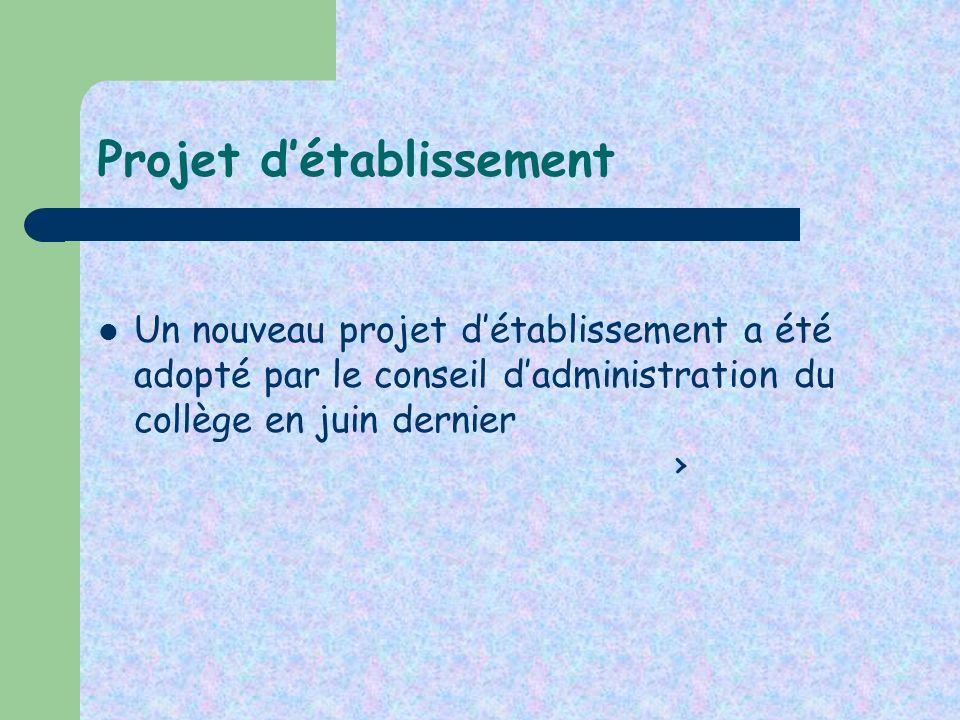 Projet détablissement Un nouveau projet détablissement a été adopté par le conseil dadministration du collège en juin dernier