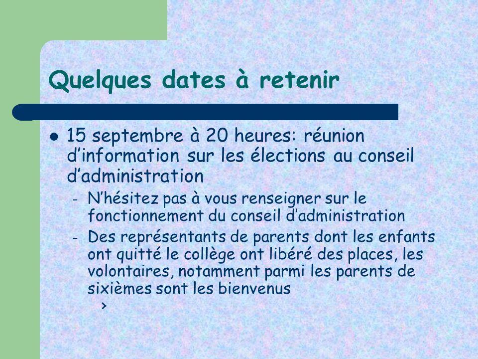 Quelques dates à retenir 15 septembre à 20 heures: réunion dinformation sur les élections au conseil dadministration – Nhésitez pas à vous renseigner