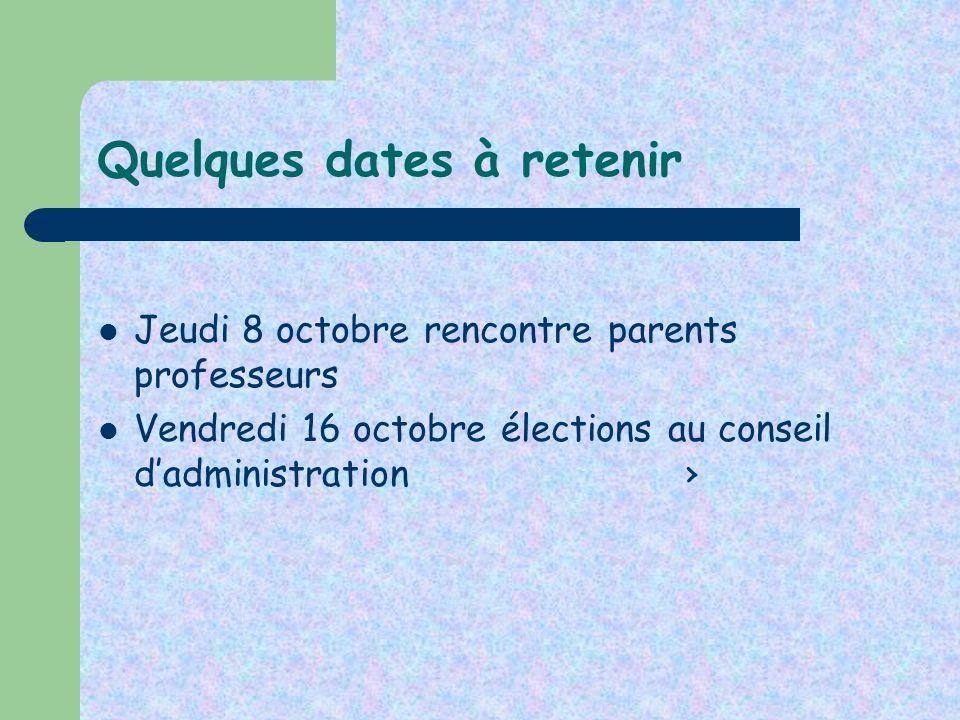 Quelques dates à retenir Jeudi 8 octobre rencontre parents professeurs Vendredi 16 octobre élections au conseil dadministration