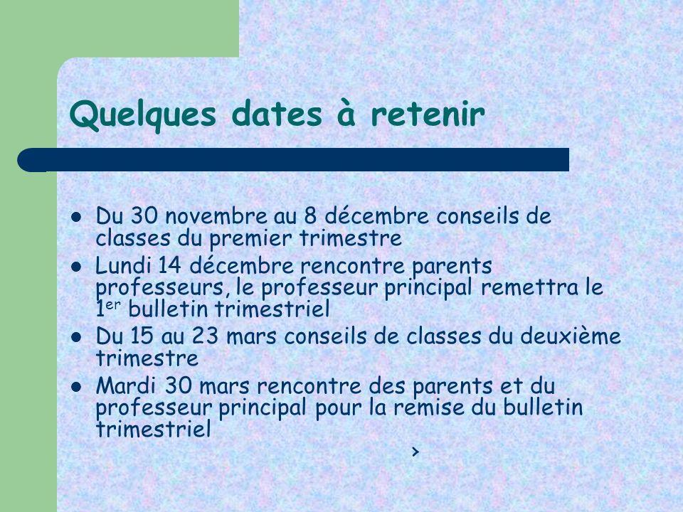 Quelques dates à retenir Du 30 novembre au 8 décembre conseils de classes du premier trimestre Lundi 14 décembre rencontre parents professeurs, le pro
