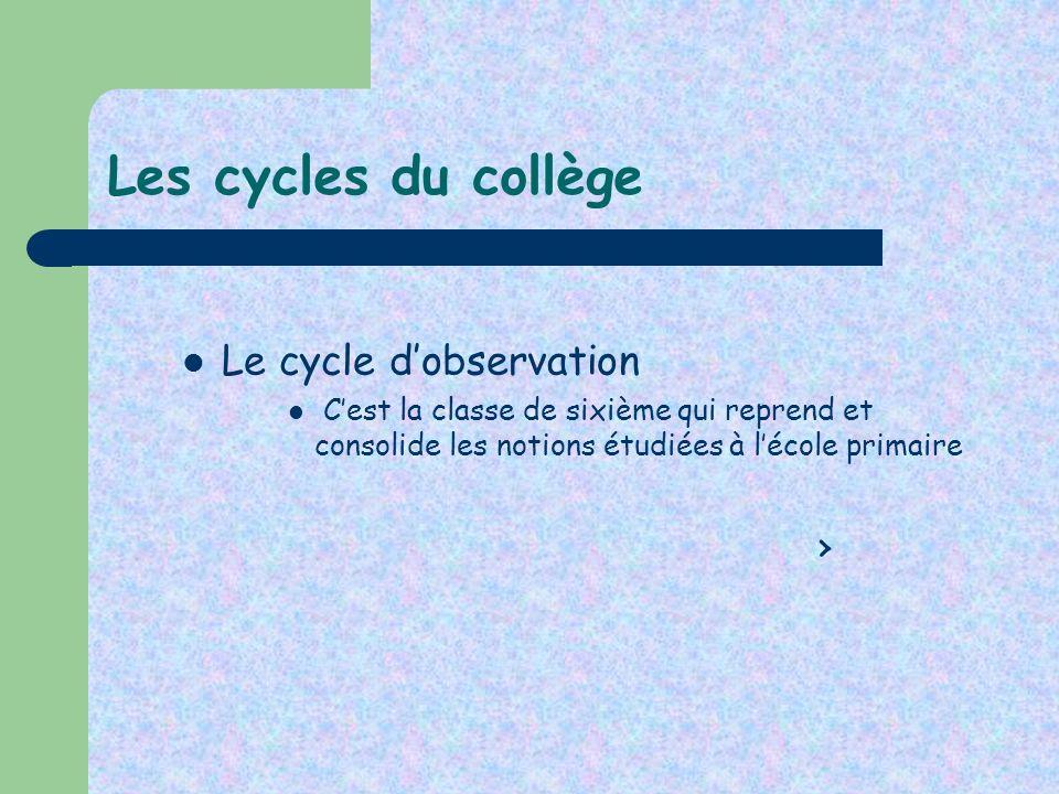 Les cycles du collège Le cycle dobservation Cest la classe de sixième qui reprend et consolide les notions étudiées à lécole primaire