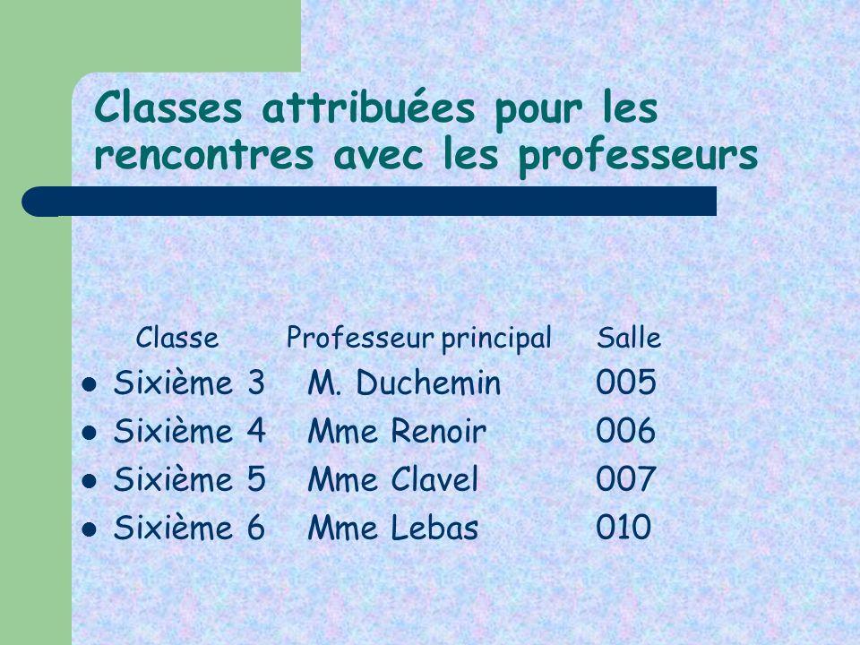 Classes attribuées pour les rencontres avec les professeurs Classe Professeur principal Salle Sixième 3 M. Duchemin005 Sixième 4 Mme Renoir 006 Sixièm