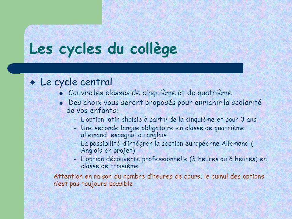 Les cycles du collège Le cycle central Couvre les classes de cinquième et de quatrième Des choix vous seront proposés pour enrichir la scolarité de vo
