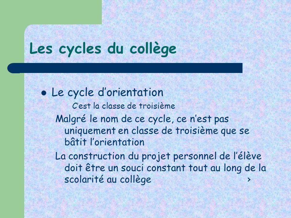 Les cycles du collège Le cycle dorientation Cest la classe de troisième Malgré le nom de ce cycle, ce nest pas uniquement en classe de troisième que s