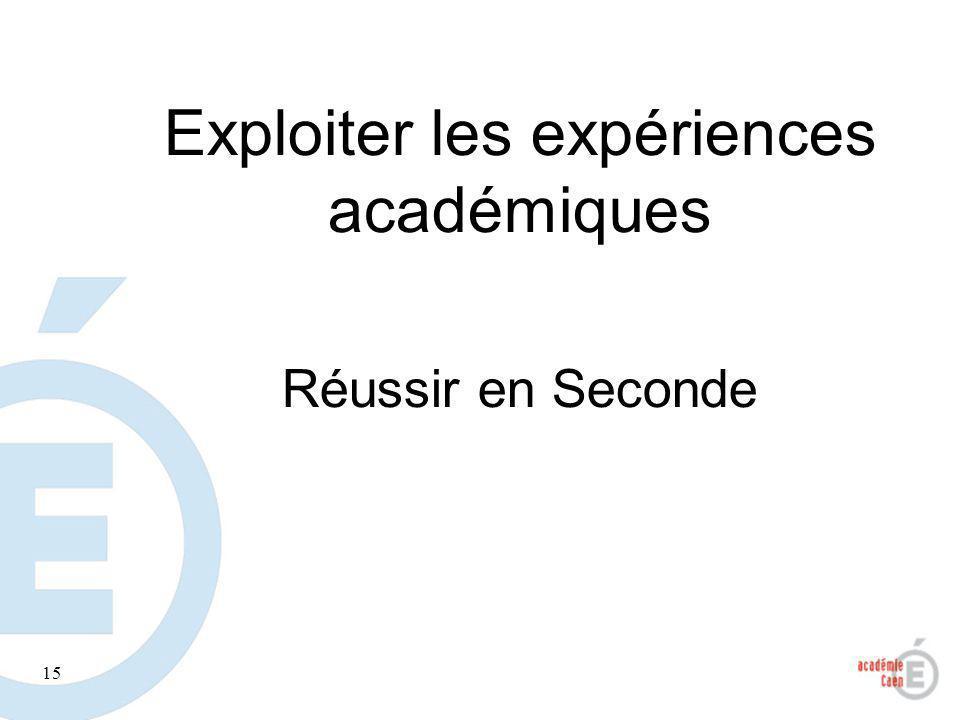 15 Exploiter les expériences académiques Réussir en Seconde