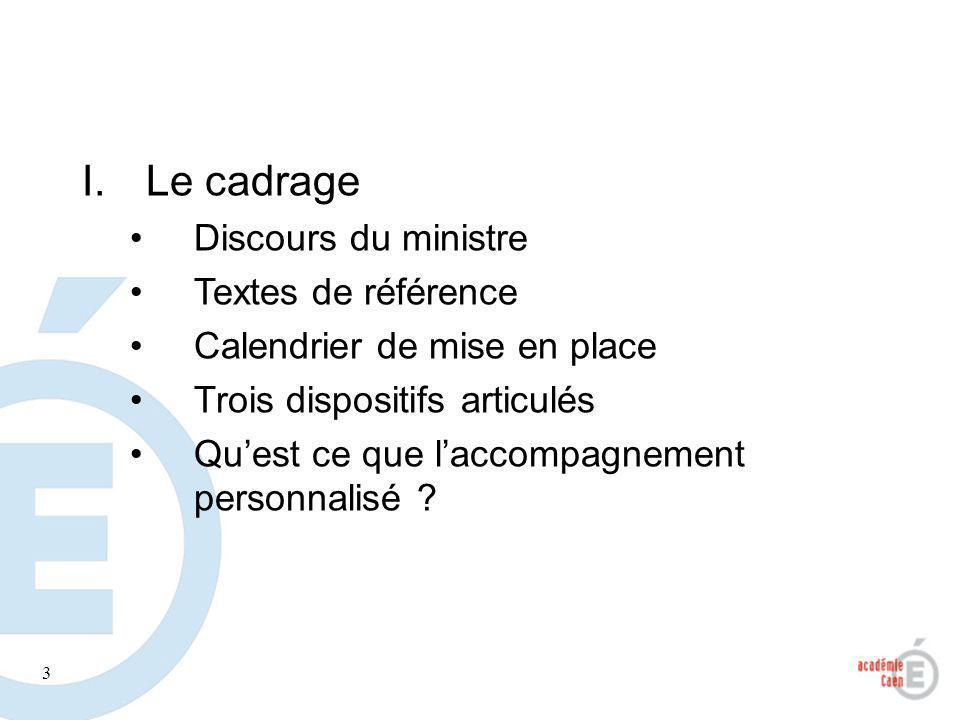 3 I.Le cadrage Discours du ministre Textes de référence Calendrier de mise en place Trois dispositifs articulés Quest ce que laccompagnement personnal