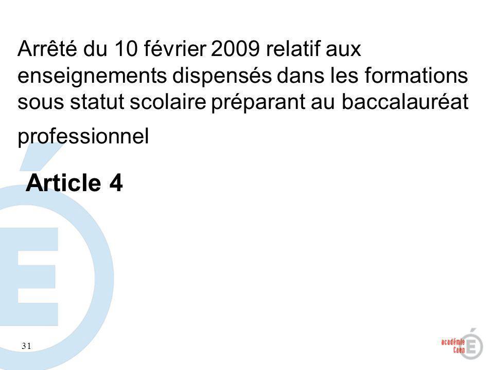 31 Arrêté du 10 février 2009 relatif aux enseignements dispensés dans les formations sous statut scolaire préparant au baccalauréat professionnel Arti