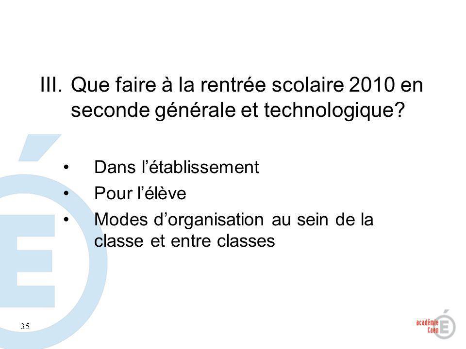 35 III.Que faire à la rentrée scolaire 2010 en seconde générale et technologique? Dans létablissement Pour lélève Modes dorganisation au sein de la cl