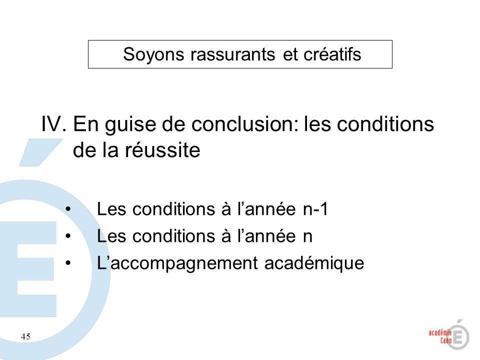 45 IV.En guise de conclusion: les conditions de la réussite Les conditions à lannée n-1 Les conditions à lannée n Laccompagnement académique Soyons ra