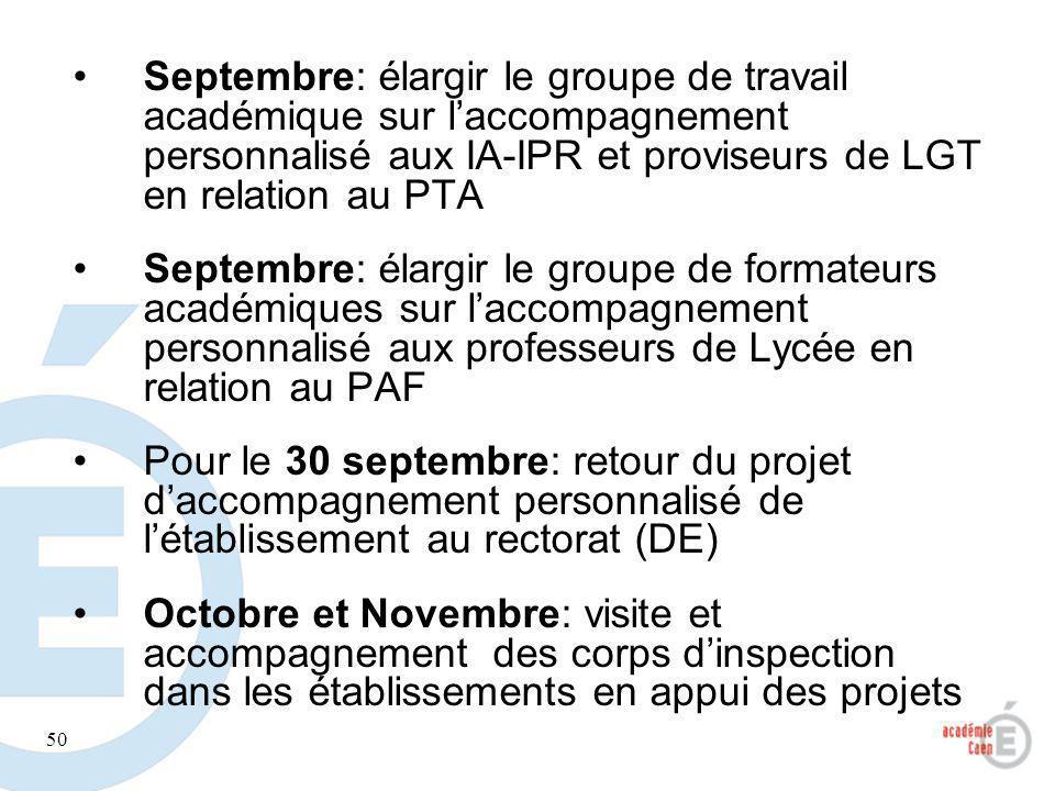 50 Septembre: élargir le groupe de travail académique sur laccompagnement personnalisé aux IA-IPR et proviseurs de LGT en relation au PTA Septembre: é