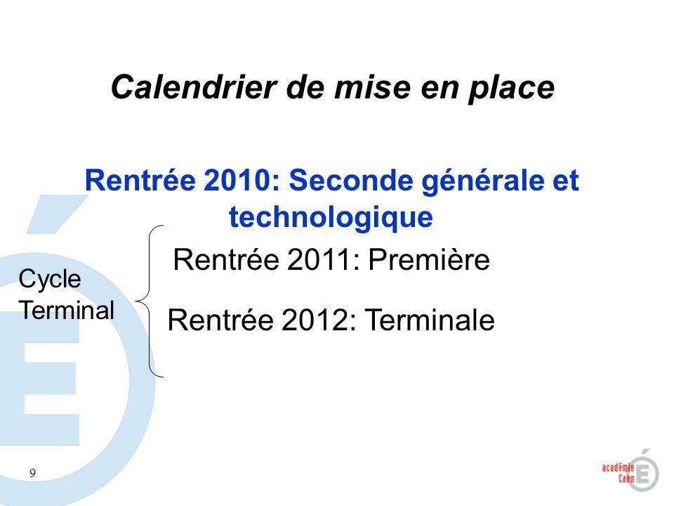 9 Calendrier de mise en place Rentrée 2010: Seconde générale et technologique Rentrée 2011: Première Rentrée 2012: Terminale Cycle Terminal