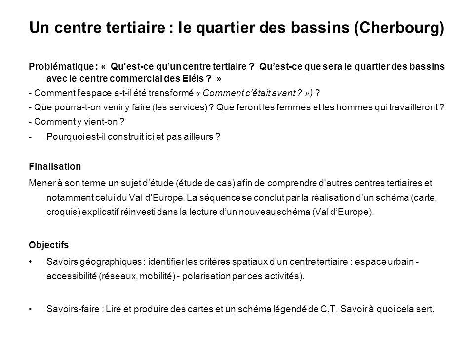 Un centre tertiaire : le quartier des bassins (Cherbourg) Problématique : « Qu'est-ce quun centre tertiaire ? Quest-ce que sera le quartier des bassin