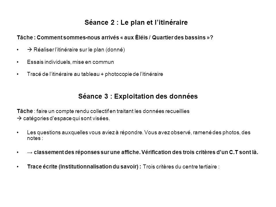 Séance 2 : Le plan et litinéraire Tâche : Comment sommes-nous arrivés « aux Éléis / Quartier des bassins »? Réaliser litinéraire sur le plan (donné) E