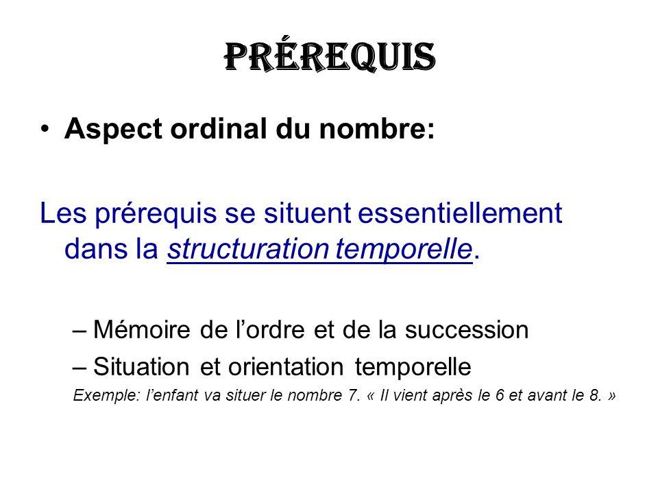 Prérequis Aspect ordinal du nombre: Les prérequis se situent essentiellement dans la structuration temporelle. –Mémoire de lordre et de la succession