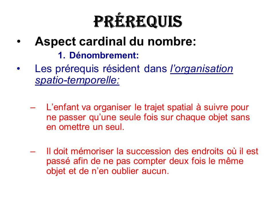 Prérequis Aspect cardinal du nombre: 1.Dénombrement: Les prérequis résident dans lorganisation spatio-temporelle: –Lenfant va organiser le trajet spat
