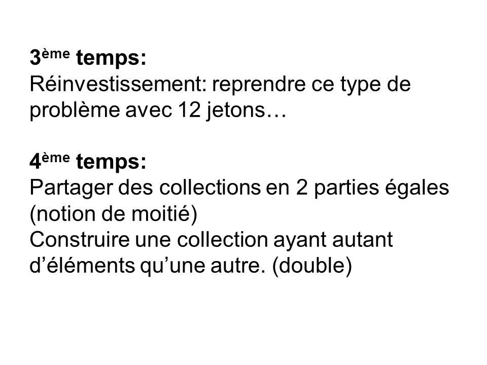 3 ème temps: Réinvestissement: reprendre ce type de problème avec 12 jetons… 4 ème temps: Partager des collections en 2 parties égales (notion de moit