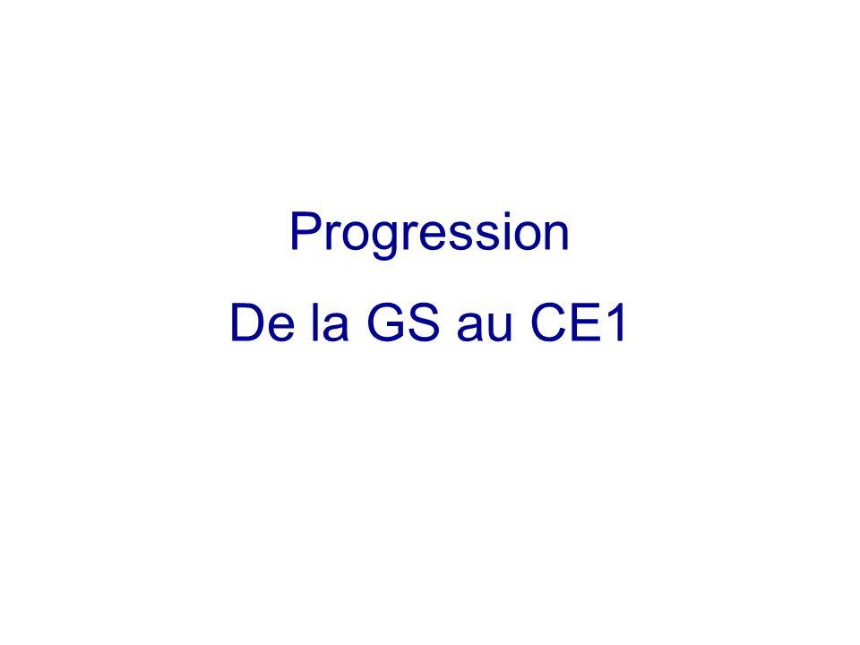 Progression De la GS au CE1