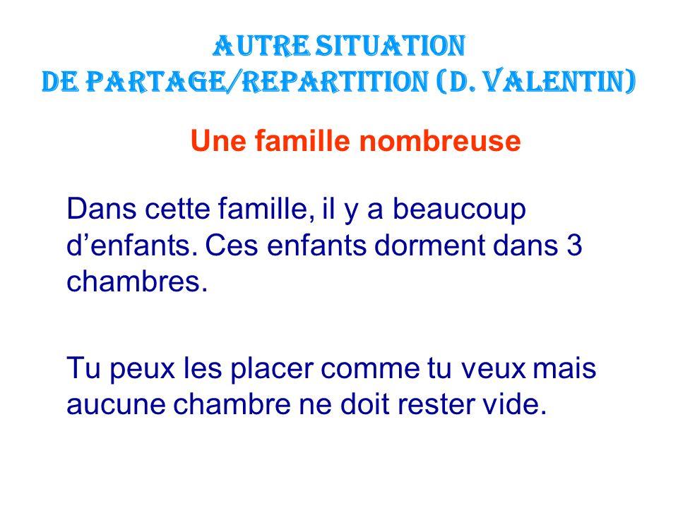 AUTRE Situation de PARTAGE/REPARTITION (D. Valentin) Une famille nombreuse Dans cette famille, il y a beaucoup denfants. Ces enfants dorment dans 3 ch