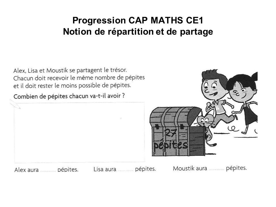 Progression CAP MATHS CE1 Notion de répartition et de partage