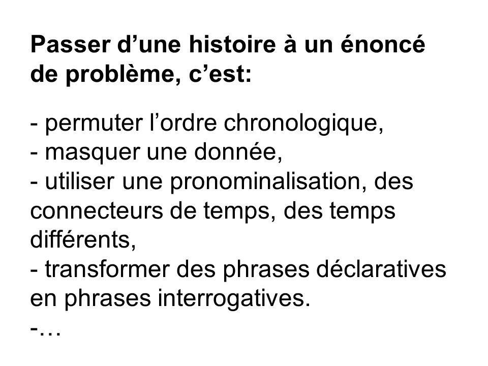 Passer dune histoire à un énoncé de problème, cest: - permuter lordre chronologique, - masquer une donnée, - utiliser une pronominalisation, des conne