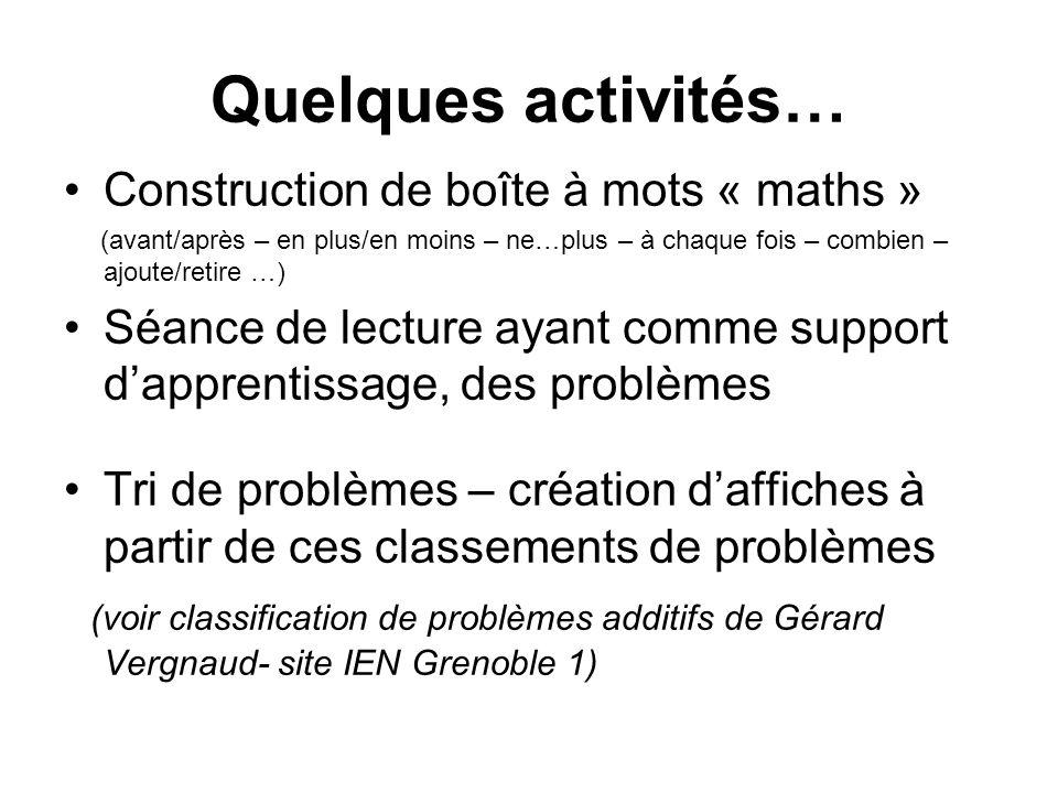 Quelques activités… Construction de boîte à mots « maths » (avant/après – en plus/en moins – ne…plus – à chaque fois – combien – ajoute/retire …) Séan
