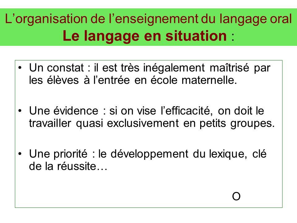 Lorganisation de lenseignement du langage oral Le langage en situation : Un constat : il est très inégalement maîtrisé par les élèves à lentrée en éco