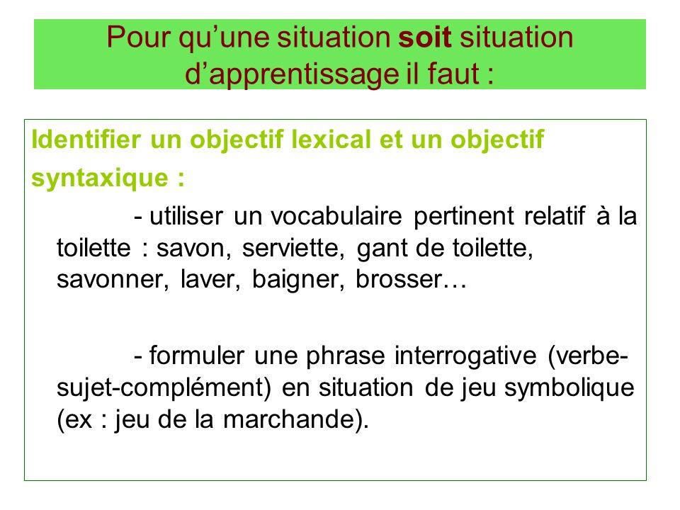 Pour quune situation soit situation dapprentissage il faut : Identifier un objectif lexical et un objectif syntaxique : - utiliser un vocabulaire pert