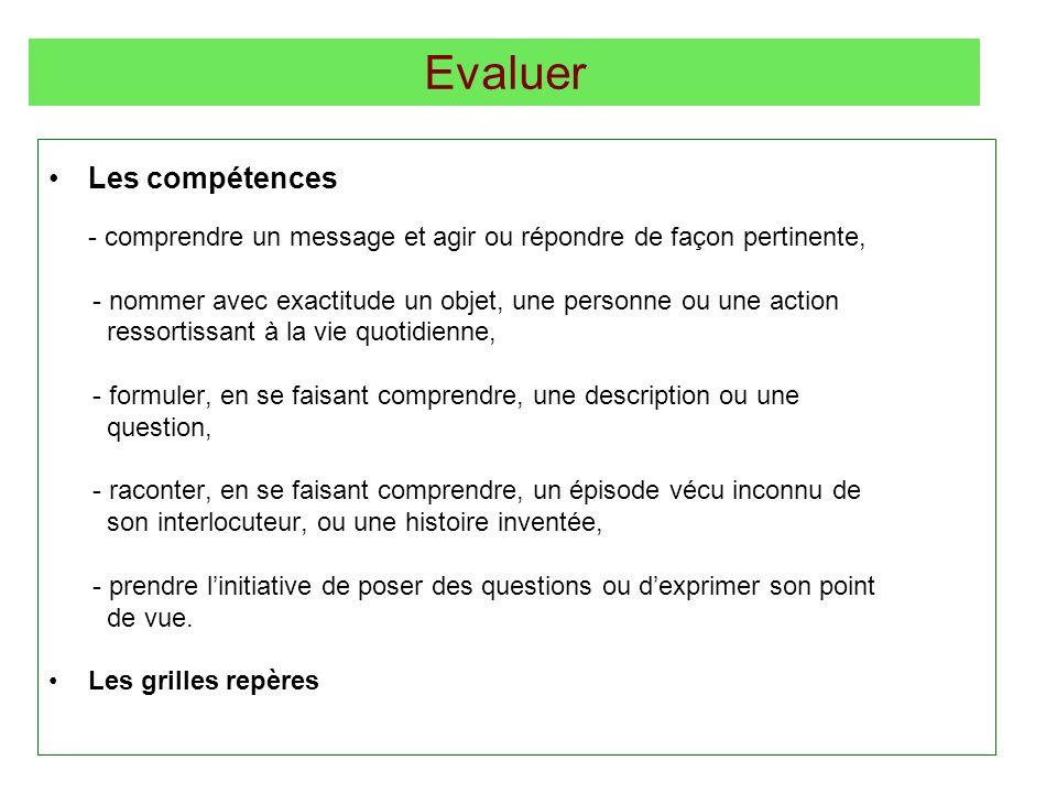 Evaluer Les compétences - comprendre un message et agir ou répondre de façon pertinente, - nommer avec exactitude un objet, une personne ou une action