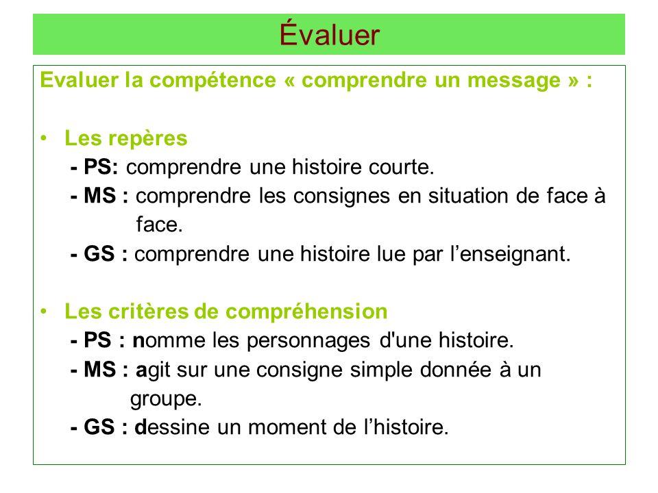 Évaluer Evaluer la compétence « comprendre un message » : Les repères - PS: comprendre une histoire courte. - MS : comprendre les consignes en situati