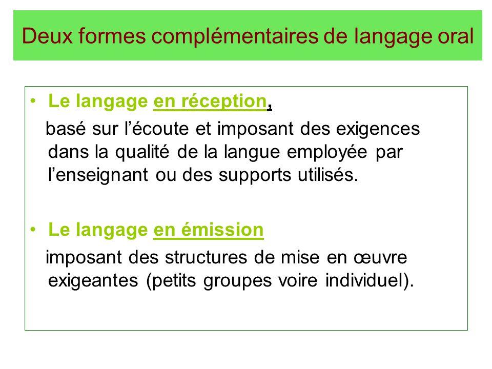 Deux formes complémentaires de langage oral Le langage en réception, basé sur lécoute et imposant des exigences dans la qualité de la langue employée