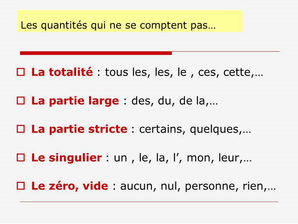 Les quantités qui ne se comptent pas… La totalité : tous les, les, le, ces, cette,… La partie large : des, du, de la,… La partie stricte : certains, quelques,… Le singulier : un, le, la, l, mon, leur,… Le zéro, vide : aucun, nul, personne, rien,…