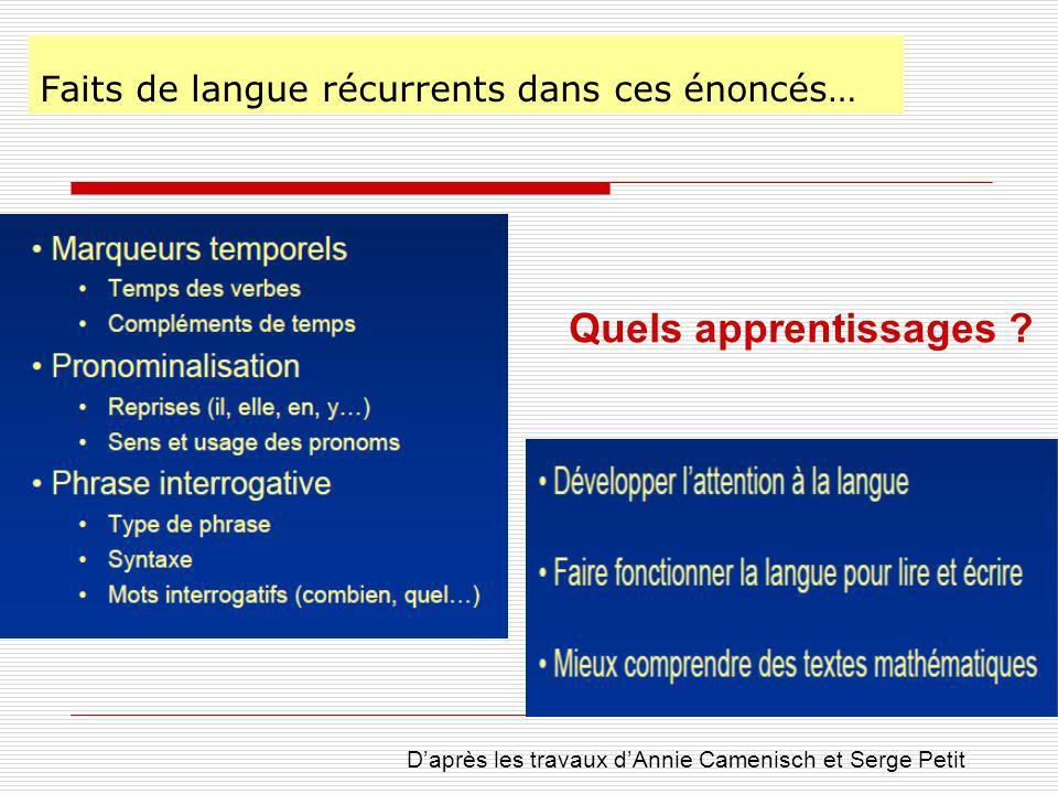 Faits de langue récurrents dans ces énoncés… Quels apprentissages .