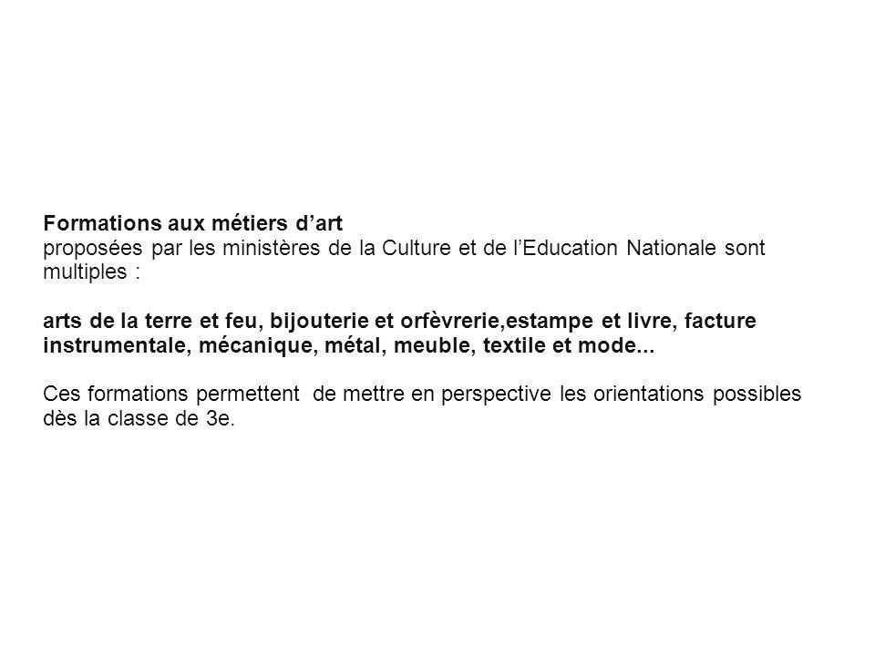 Cliquez pour modifier le style des sous-titres du masque Formations aux métiers dart proposées par les ministères de la Culture et de lEducation Natio