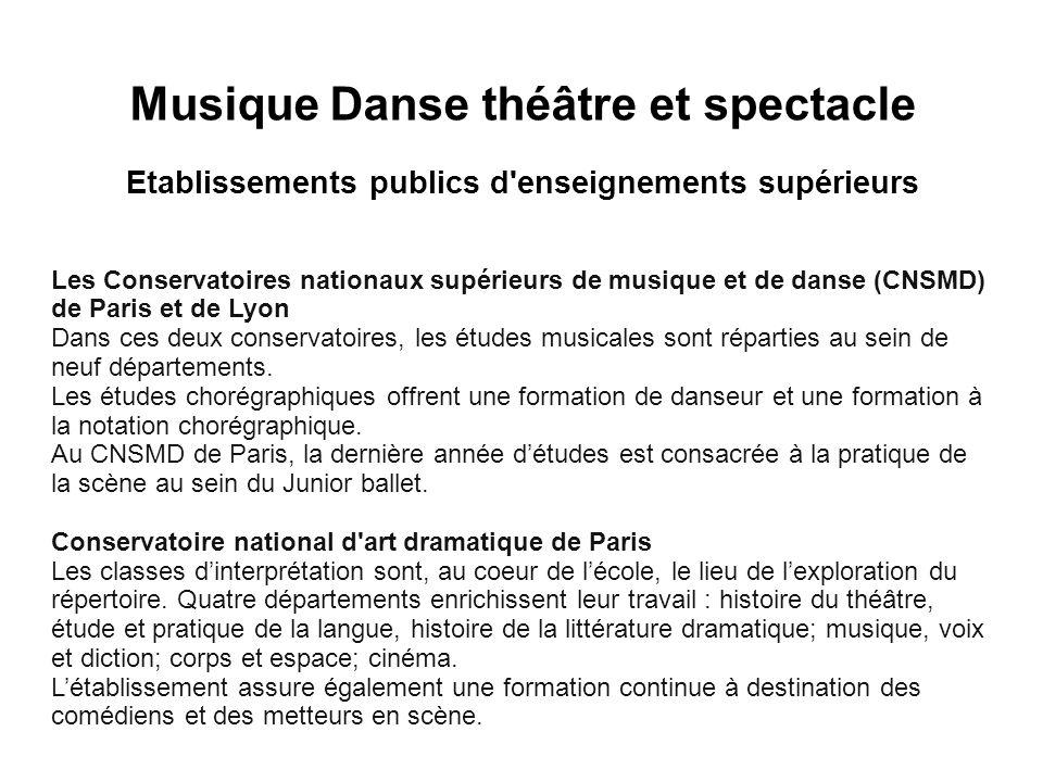 Cliquez pour modifier le style des sous-titres du masque Musique Danse théâtre et spectacle Etablissements publics d'enseignements supérieurs Les Cons