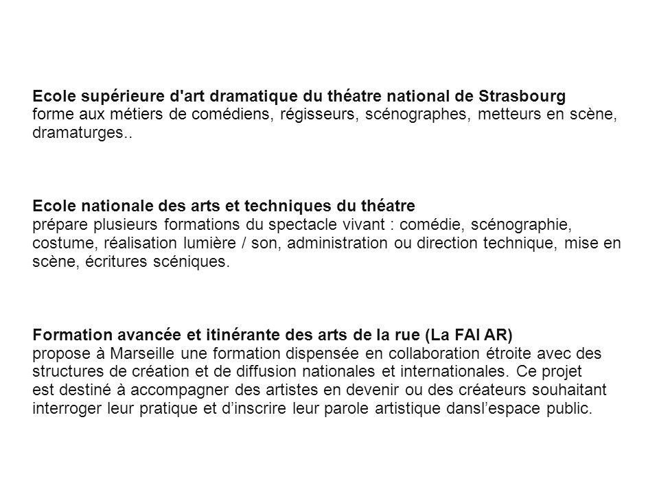 Cliquez pour modifier le style des sous-titres du masque Ecole supérieure d'art dramatique du théatre national de Strasbourg forme aux métiers de comé